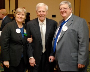 Left to right: Bev Carroll, Foundation President; Harold Jacobs; Jack Griffeth, Foundation Past President